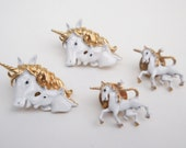 Lot of 4 Vintage Enamel Unicorn Clutch Pin Tack