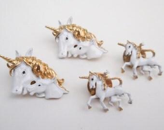 Lot of 4 Vintage Enamel Unicorn Clutch Pin Tack