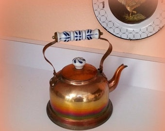 SANTA SALE Vintage Copper Kettle - Ceramic Handle with Blue and White Dutch Motif