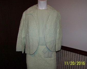 1960's 2 Piece  Celery Green Sleveless Dress w/matching Bolero Jacket by Mardi Gras