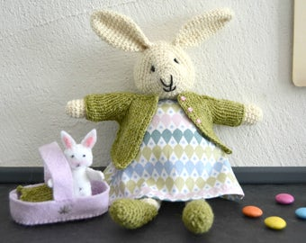 Emma, bunny girl and her little bunny, crochet bunny, crochet toy, Ready to ship
