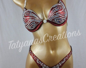 Maroon Figure Competition Molded Underwire Push Up Top C cup, Small Bottom.