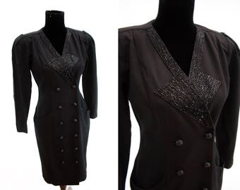 Art Deco Style Tuxedo Dress. With Black Beaded Lapels. 1980's. Vintage. By Taurus Nites. Workers Union Label.