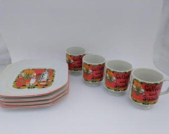 Coffee and a Snack Vintage Ceramic 8 piece Snack Set