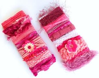 2 Pink Yarn Bundles -  Mixed Fibers Sample Card, Novelty Yarns for Altered Art, Mixed Media, Doll Making, Embelisment - D3