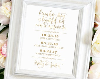Love Story Wedding Sign | Various Sizes | Personalized | Bella | Antique Gold | I Create and You Print