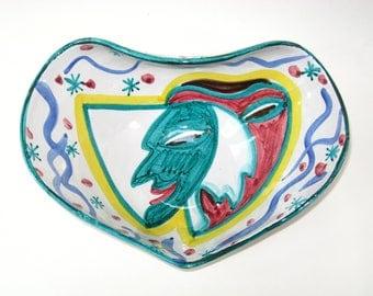 Rare Aldo Londi Hand Painted Signed Bitossi Bowl w/ Commedia Dell Arte Masked Face -Mid Century Modern Art Pottery Centerpiece