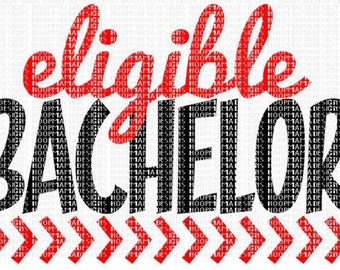 Eligible bachelor! - Boy's Valentine's Day vinyl Shirt - Boy's or Girl's Design - Vday shirt - Valentine - monogram shirt