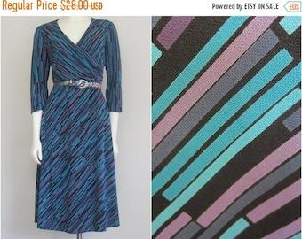90s Stripe Dress / Turquoise Purple / Geometric / Office