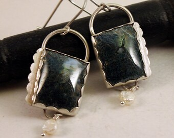 Sterling Silver Moss Agate and Pearl Swing Earrings