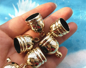 Promotion sale 20pcs 23.5x16mm Plastic light gold tassel caps/cord end/cord terminer charms findings