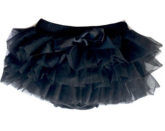 Black Tutu Bloomers, Diaper Cover, Black Tutu, Baby Tutu, Black Baby Tutu, Red Diaper Cover, Ruffle Diaper Cover, Ruffle Bloomers