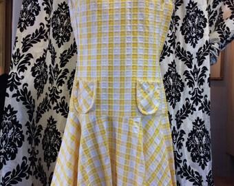 Adorable 1960's yellow check dress