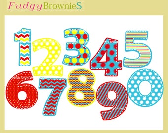 ON SALE  Dr Seuss number clipart,kids numbers clip art, Polka Dot Number clip art, cupcake topper clip art, scrapbooking, INSTANT Download