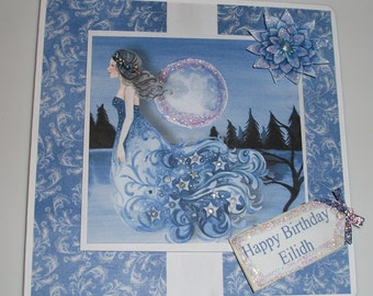 Beautiful female birthday card, mystical moonlight scene with hand cut decoupage greeting and flower, glitter decoration
