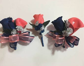 Coral Navy Blue Pin on Corsages Wedding Flowers