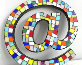 Stained Glass Mosaic Internet/Keyboard AT Symbol - Multi-Color