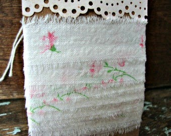 Vintage Summer Garden.....Vintage Hand Frayed White with Pink Blooms Fabric Ribbon