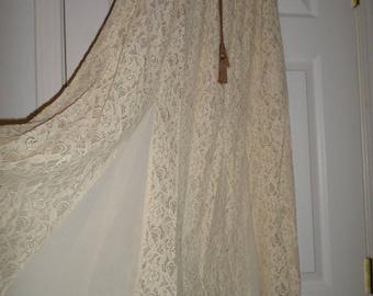 Long Maxi Lace Skirt Asymetrical Ivory Large Bohemian Boho Hippie