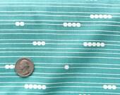 Blue Stripe Fabric Organic Poplin with Dot in Pool Blue Cotton Birch Organics Eco Earth Friendly