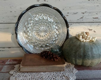 Vintage Clear Glass Veggie + Snack Tray - Mid Century Serving Dish Trimmed With Silver Plate, Holiday Serving Platter, Party Serving Ware