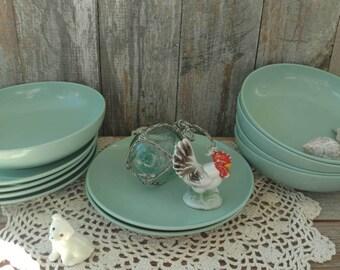 Vintage Melmac Like Seafoam Green Retro Serving Ware - Party Dishes, Tea Parties, Aqua Kitchen, Candle Plates, Retro Plastic Plates + Decor