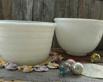 Mid Century White Milkglass Mixing Bowl Set - Retro Cooking Utensils, Batter Bowls, Milk Glass Serving Bowls, Fruit Bowls, Snack Bowl Set