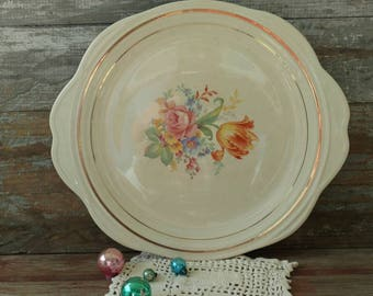 Antique Art Pottery Rose + Tulip Platter by Universal Potteries - Vintage Floral Serving Ware, Home Decor, Wall Art, Turkey or Ham Platter