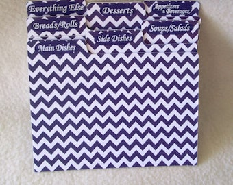 Purple Chevron Recipe Box Dividers - Recipe Organizers -  Index Cards -  4X6 or 5X7 Recipe Box Dividers, Shower Gift