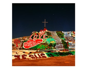 Print Only - Salvation Mountain At Night God Love Jesus Christian Desert California Film Color 120mm Landscape Photography Photograph Square