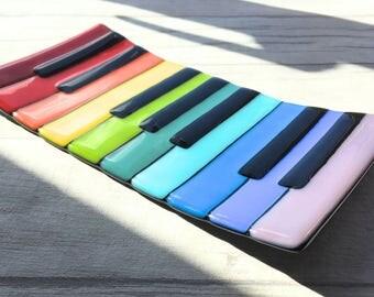 Piano Keyboard Art, Musical Gift, Rainbow Glass, Fused Glass Rainbow, Fused Glass Plate, Piano Gift, Piano Art, Glass Piano, Handmade Glass