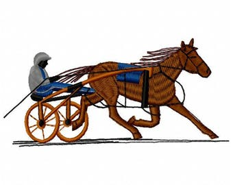 Harness Racing Horse Machine Embroidery Design - Instant Download
