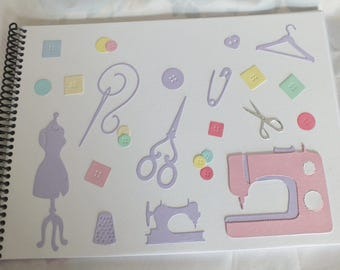 Handmade Decorated A4 Scrapbook Photo Album with SEWING THEME