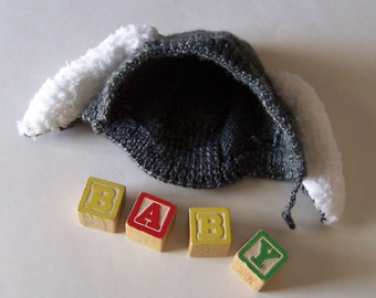Newborn Baby Hat Bunny Rabbit Hand Knit Grey White Fuzzy Ears Baby Shower Gift Infant Boy or Girl Winter Hat Photo Prop