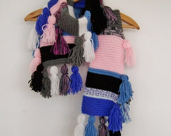 Women's Tassel Scarf Anthropologie Inspired Winter Fashion in Pink, Blue, Black and White Hand Knit One of a Kind Boho Style