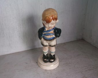 """Vintage Made In Occupied Japan Boy with Sack of Flowers On Back 5 1/4"""" Figurine"""