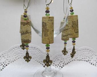 Wine Cork Ornaments with Bronze Fleur de Lis Charm- Holiday Package Embellishment - Swarovski Crystals - Fun - Whimsical - Wine Tree Decor