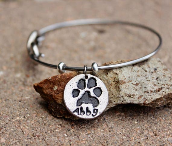 Paw print Bracelet, Real Paw Print Charm Bangle Bracelet Silver with Stainless Steel Bangle pawprint Charm choose clasp from mantra clasps