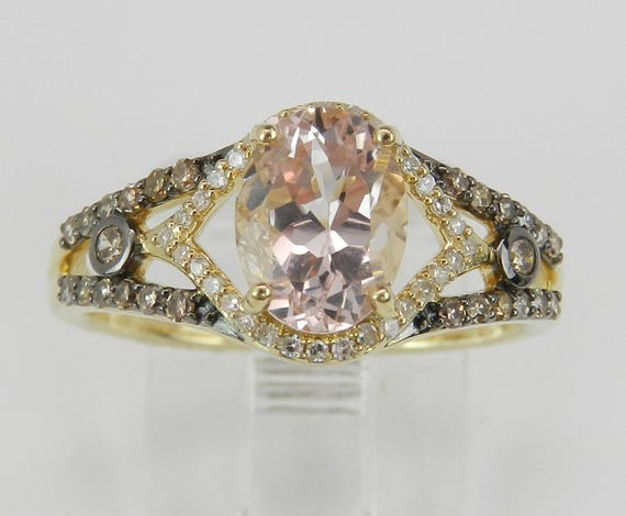 Morganite and Fancy Diamond Engagement Ring 14K Yellow Gold Size 7 Pink Aquamarine