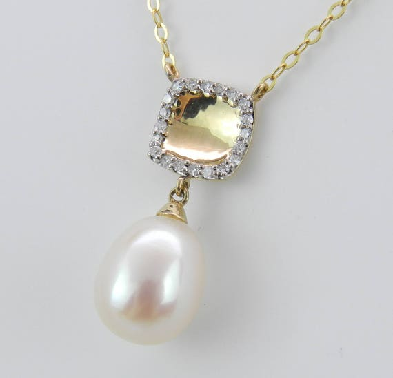 "14K Yellow Gold Diamond and Pearl Drop Pendant Wedding Necklace with 16"" Chain June Birthstone"