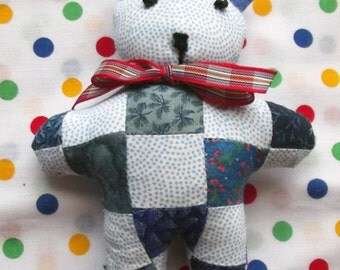 A Cute and Cuddly Little Patchwork Teddy, Soft Toy, Stuffed Animals, Baby Gift, Softie, Soft Toys, Nursery Decor