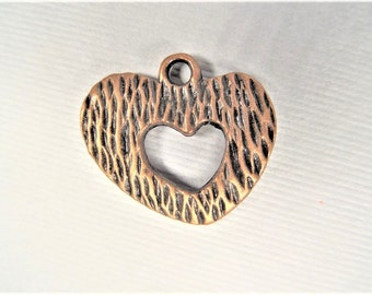 19mm*22mm. 5CT. Copper Toned Heart Charms, Y49