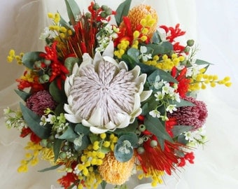 Rustic wedding bouquet, native flowers - king protea, banksia, kangaroo paw, pin cushions, wax, wattle.  Autralian and South African flowers