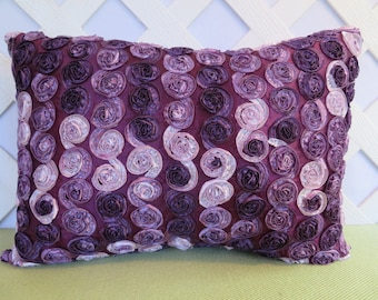 Silky Ribbon Rosettes Pillow in Eggplant Lavender White / Purple Ribbon Pillow / Purple Rosettes Pillow / Bedroom Pillow / Accent Pillow