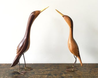 Pair of Mid Century Teak Wooden Birds, Hand-Carved with Wire Legs