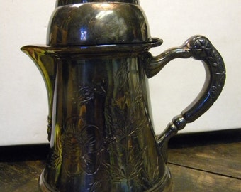 nice shape antique 1800s ornate WILCOX SILVERPLATE SYRUP creamer pitcher