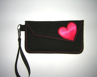 iPhone 7 plus cover Cute Wristlet Smartphone Case cellphone purse  love clutch Fabrics in Dark Gray with red satin heart