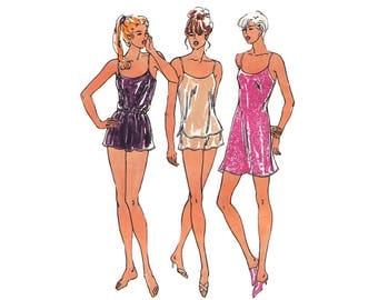 Misses Chemise Camisole and Shorts Kwik Sew 2589 Lingerie Sewing Pattern Extra Small to Extra Large Bust 31.4 through to Bust 45""