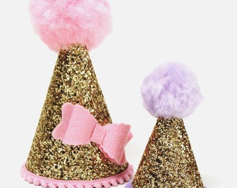 Dog Party Hat Dog Birthday Hat Gold Glitter Party Hat