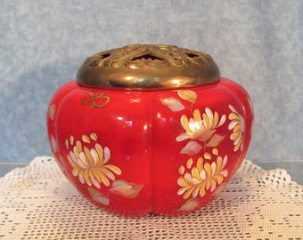 Fenton Mandarin Box Hand Painted Covered 22k Gold Signed by Kim Plauche' Potpourri Jar